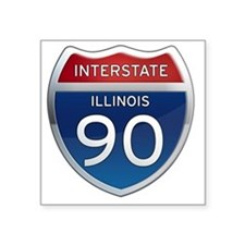 "Interstate 90 - Illinois Square Sticker 3"" x 3"""