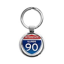 Interstate 90 - Illinois Round Keychain