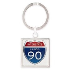 Interstate 90 - Illinois Square Keychain