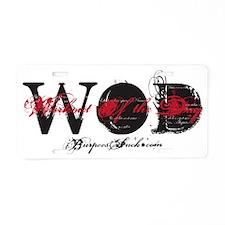 SUPER WAD BLACK - RED Aluminum License Plate