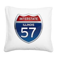 Interstate 57 - Illinois Square Canvas Pillow