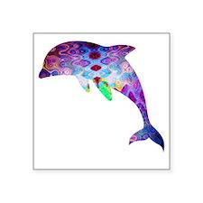 """dolphin Square Sticker 3"""" x 3"""""""