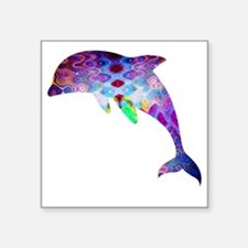 "dolphin Square Sticker 3"" x 3"""