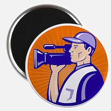 cameraman filmcrew with video movie camera Magnet