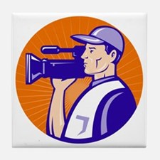 cameraman filmcrew with video movie c Tile Coaster