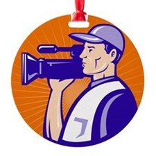 cameraman filmcrew with video movie Ornament