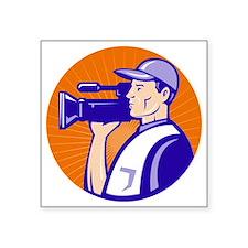 "cameraman filmcrew with vid Square Sticker 3"" x 3"""