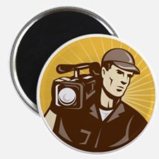 cameraman filmcrew with video movie camera Magnet