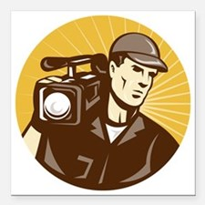 "cameraman filmcrew with  Square Car Magnet 3"" x 3"""
