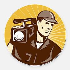 cameraman filmcrew with video mov Round Car Magnet
