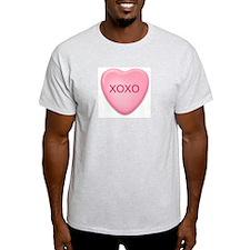 XOXO  candy heart Ash Grey T-Shirt