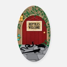 reptileswelcome5x8 Oval Car Magnet