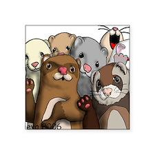 """Ferret Hello Square Sticker 3"""" x 3"""""""