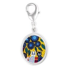 House Cats Silver Oval Charm