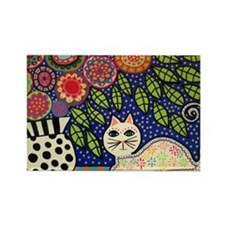 White House Cat Rectangle Magnet