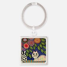 White House Cat Square Keychain