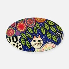 White House Cat Oval Car Magnet