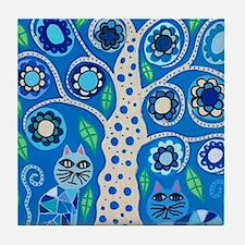 Blue Cats Tile Coaster