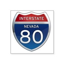 "Interstate 80 - Nevada Square Sticker 3"" x 3"""