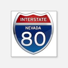 "Interstate 80 - Nevada Square Sticker 3"" x 3"""