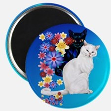 Black N White Garden Kittiese-2-circle Magnet