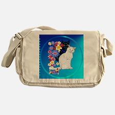 Black N White Garden Kittiese-2-circ Messenger Bag