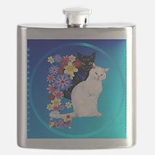 Black N White Garden Kittiese-2-circle Flask