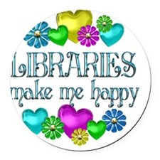 libraries Round Car Magnet