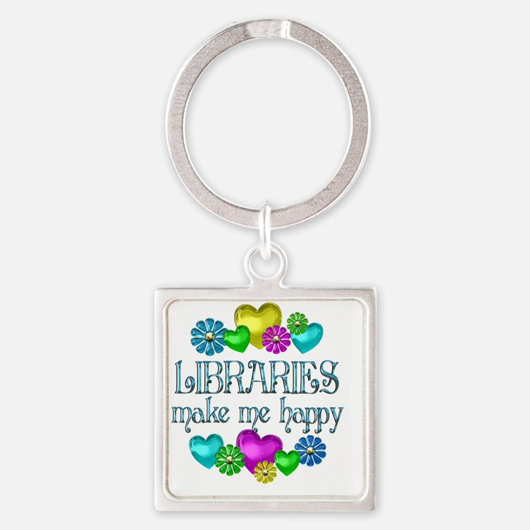 libraries Square Keychain