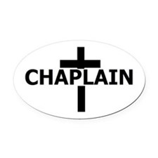 Chaplain Tag Blk White Oval Car Magnet