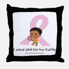 i-wear-pink-for-my-auntie-boxing Throw Pillow