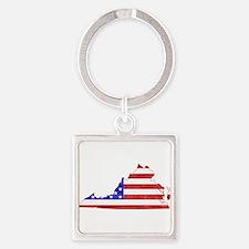 Virginia Flag Square Keychain