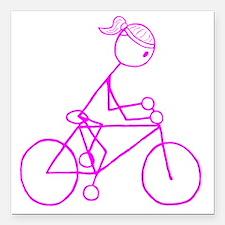 "biker pink.gif Square Car Magnet 3"" x 3"""