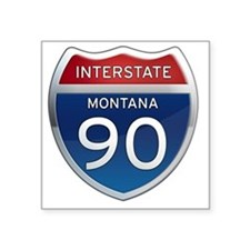 "Interstate 90 - Montana Square Sticker 3"" x 3"""