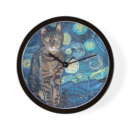 8x10Starey NightCat Wall Clock