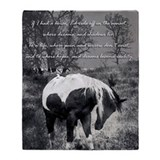 Black and white horse Fleece Blankets