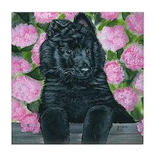 bel shep flower baby Tile Coaster