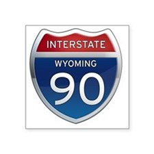 "Interstate 90 - Wyoming Square Sticker 3"" x 3"""