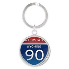 Interstate 90 - Wyoming Round Keychain