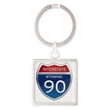 Interstate 90 - Wyoming Square Keychain