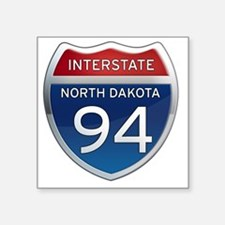 "Interstate 94 - North Dakot Square Sticker 3"" x 3"""