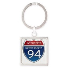 Interstate 94 - North Dakota Square Keychain