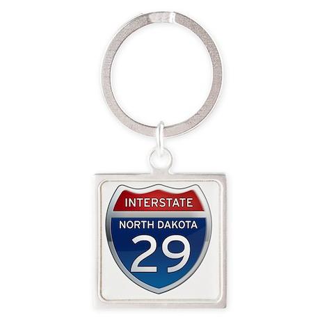 Interstate 29 - North Dakota Square Keychain