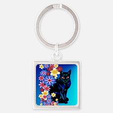 Black Garden Kitty_pillow Square Keychain