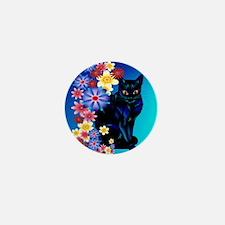Black Garden Kitty_pillow Mini Button
