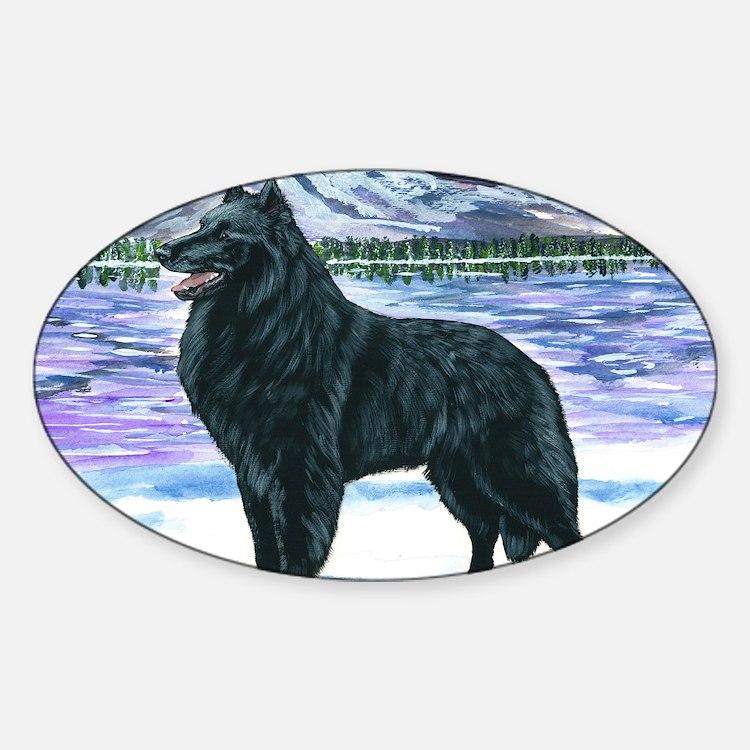 bel shep snow Sticker (Oval)