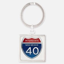 Interstate 40 - New Mexico Square Keychain