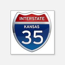 "Interstate 35 - Kansas Square Sticker 3"" x 3"""