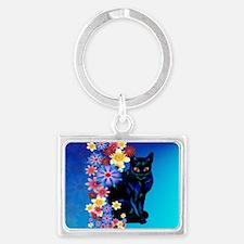 Black Garden Kitty.-Yardsign Landscape Keychain