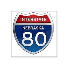 """Interstate 80 - Nebraska Square Sticker 3"""" x 3"""""""